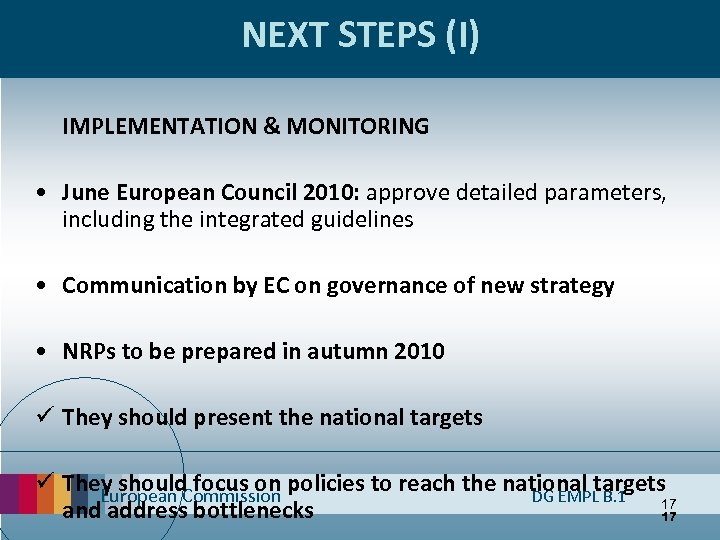 NEXT STEPS (I) IMPLEMENTATION & MONITORING • June European Council 2010: approve detailed parameters,