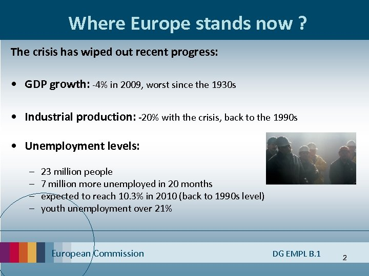 Where Europe stands now ? The crisis has wiped out recent progress: • GDP