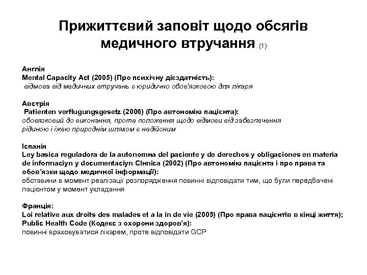 Прижиттєвий заповіт щодо обсягів медичного втручання (1) Англія Mental Capacity Act (2005) (Про психічну