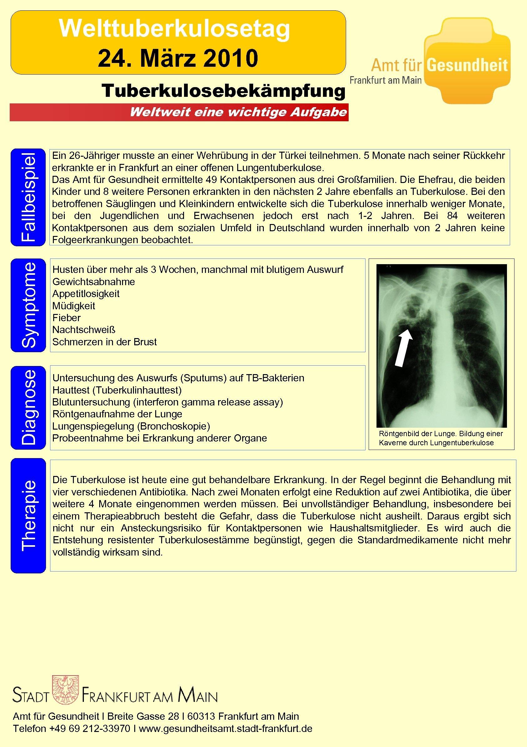 Welttuberkulosetag 24. März 2010 Tuberkulosebekämpfung Fallbeispiel Ein 26 -Jähriger musste an einer Wehrübung in