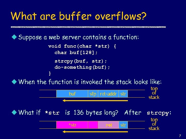 What are buffer overflows? u Suppose a web server contains a function: void func(char