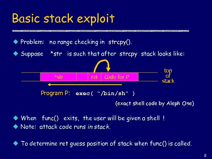Basic stack exploit u Problem: no range checking in strcpy(). u Suppose *str is