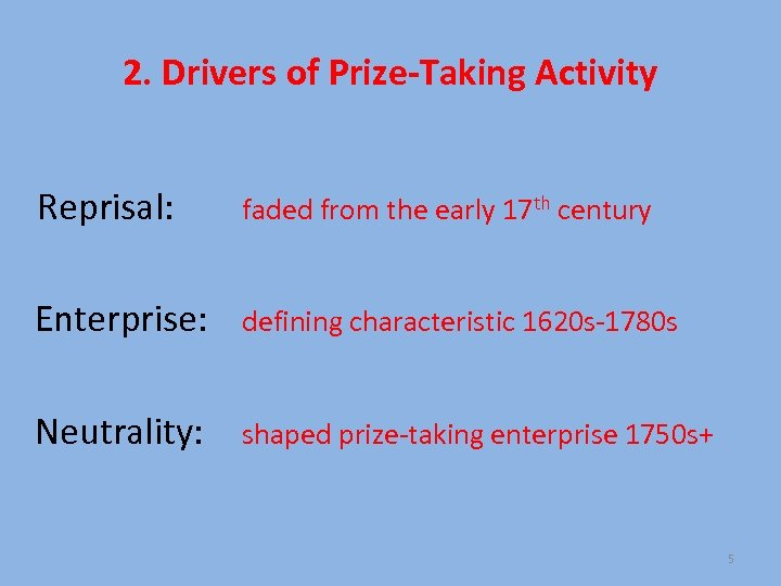 2. Drivers of Prize-Taking Activity Reprisal: faded from the early 17 th century Enterprise: