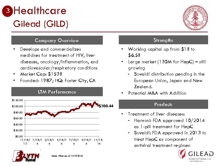 3 Healthcare Gilead (GILD) Company Overview Strengths • Develops and commercializes medicines for treatment
