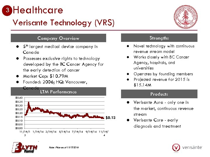 3 Healthcare Verisante Technology (VRS) Company Overview ● 5 th largest medical device company