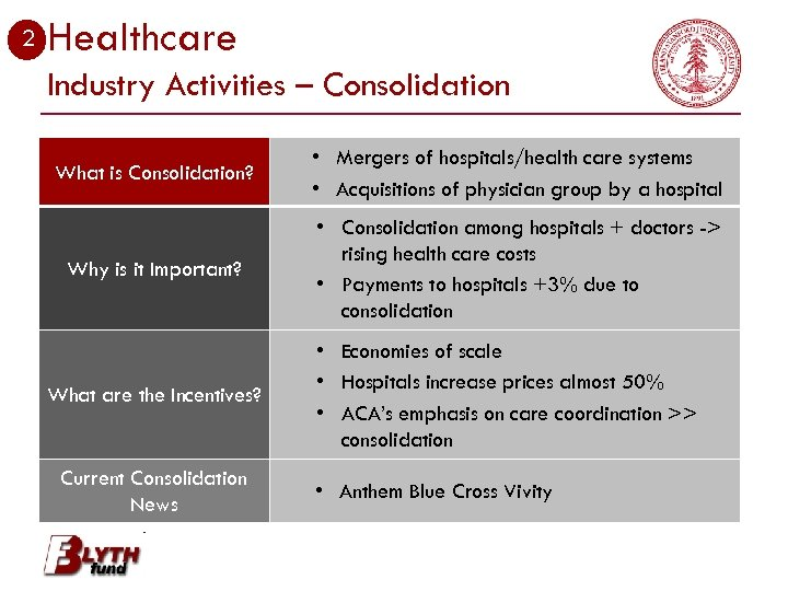 2 Healthcare Industry Activities – Consolidation What is Consolidation? • Mergers of hospitals/health care