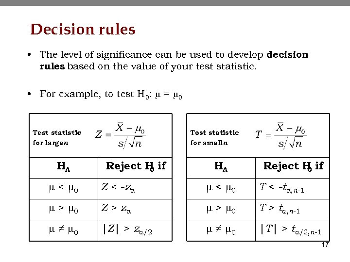 Decision rules • The level of significance can be used to develop decision rules