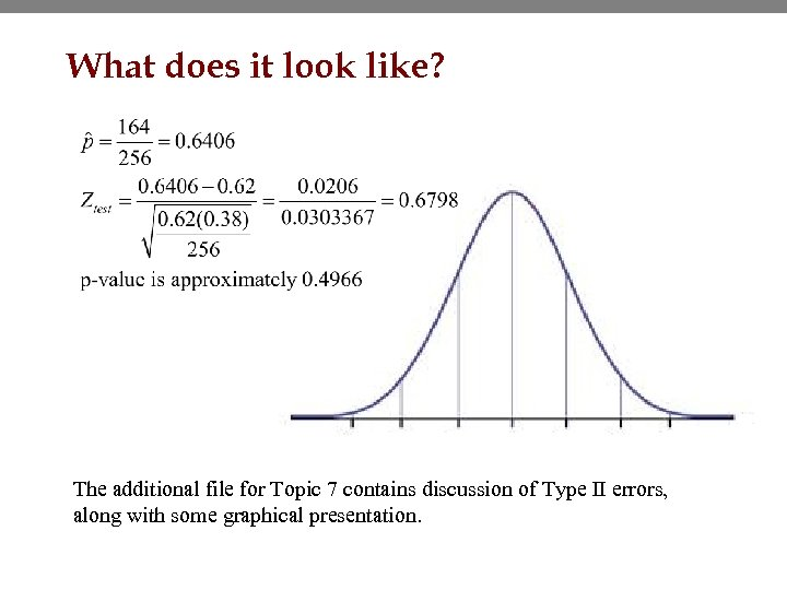 What does it look like? The additional file for Topic 7 contains discussion of