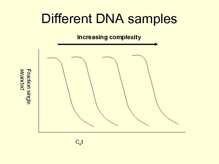 Different DNA samples Increasing complexity Fraction single stranded Co t