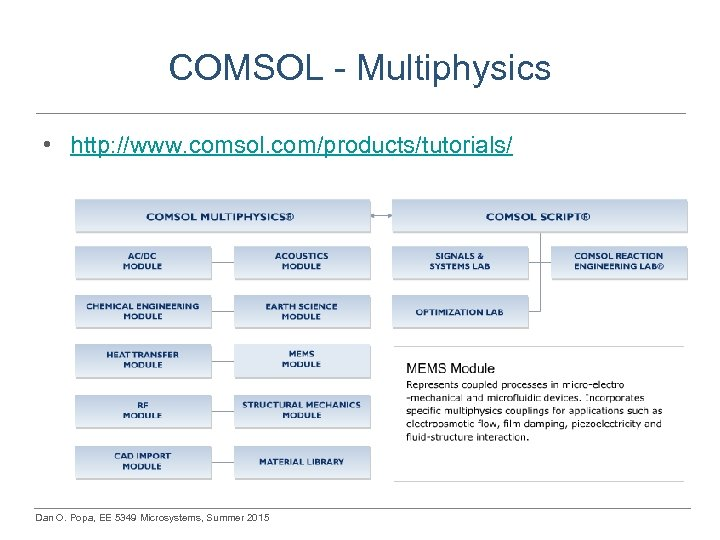 COMSOL - Multiphysics • http: //www. comsol. com/products/tutorials/ Dan O. Popa, EE 5349 Microsystems,