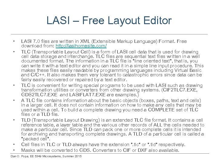 LASI – Free Layout Editor • • LASI 7. 0 files are written in