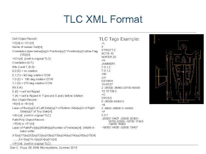 TLC XML Format Cell Object Record: =C{nl} or <C>{nl} Name of Lesser Cell{nl} Orientation