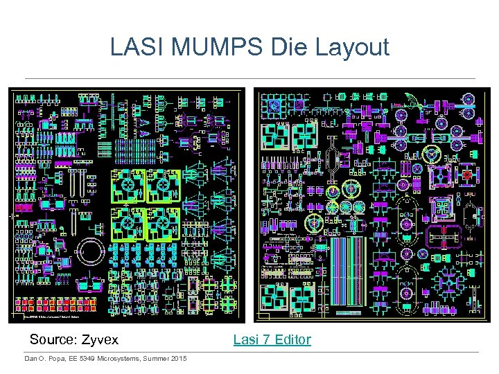 LASI MUMPS Die Layout Source: Zyvex Dan O. Popa, EE 5349 Microsystems, Summer 2015