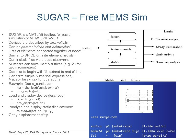 SUGAR – Free MEMS Sim • • • SUGAR is a MATLAB toolbox for