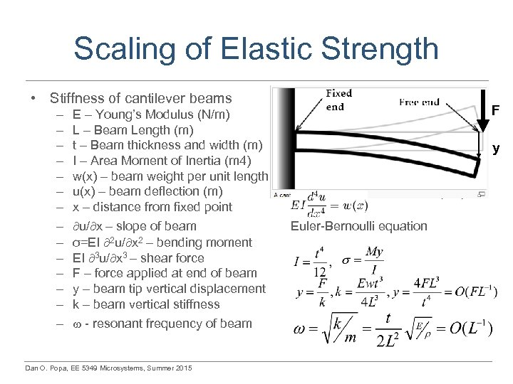 Scaling of Elastic Strength • Stiffness of cantilever beams – – – – E