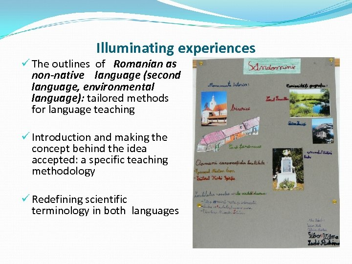 Illuminating experiences ü The outlines of Romanian as non-native language (second language, environmental language):