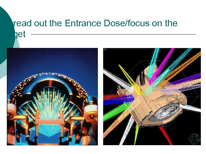 Spread out the Entrance Dose/focus on the target