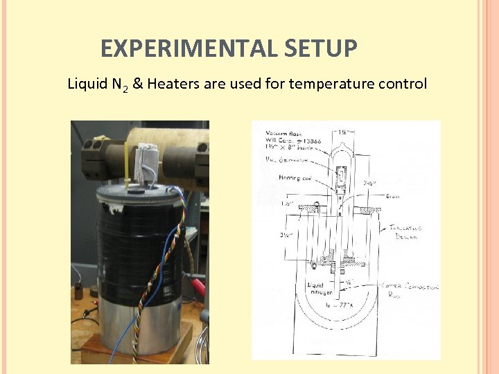 EXPERIMENTAL SETUP Liquid N 2 & Heaters are used for temperature control