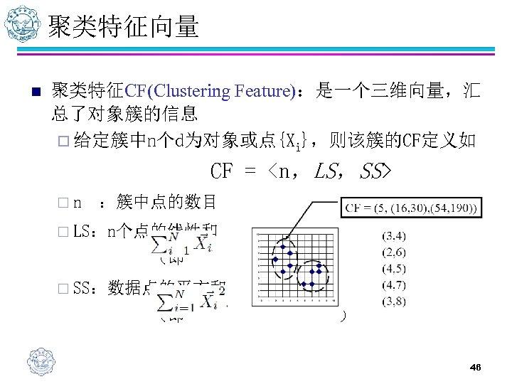 聚类特征向量 n 聚类特征CF(Clustering Feature):是一个三维向量,汇 总了对象簇的信息 ¨ 给定簇中n个d为对象或点{Xi},则该簇的CF定义如 CF = <n,LS,SS> ¨n :簇中点的数目 ¨ LS:n个点的线性和