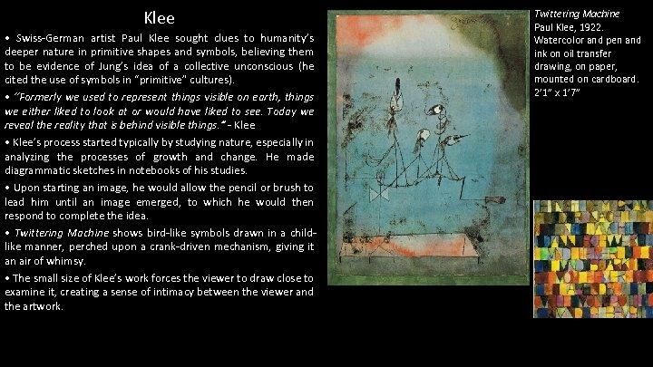 Klee • Swiss-German artist Paul Klee sought clues to humanity's deeper nature in primitive