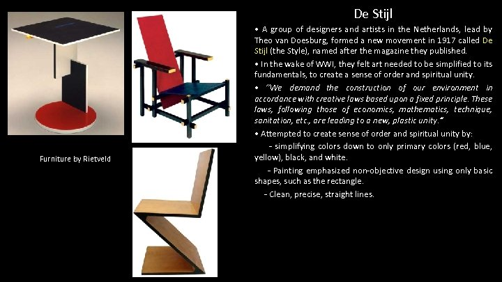 De Stijl Furniture by Rietveld • A group of designers and artists in the