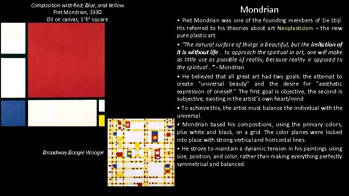 """Composition with Red, Blue, and Yellow. Piet Mondrian, 1930. Oil on canvas, 1' 6"""""""