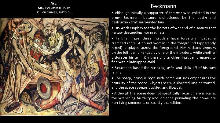 "Night Max Beckmann, 1918. Oil on canvas, 4' 4"" x 5'. Beckmann • Although"