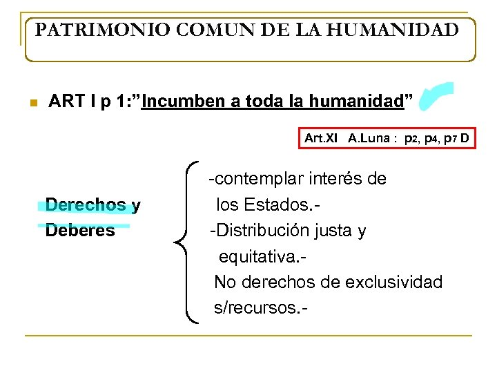 "PATRIMONIO COMUN DE LA HUMANIDAD n ART I p 1: ""Incumben a toda la"