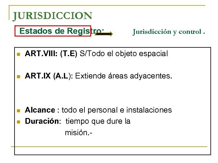JURISDICCION Estados de Registro: Jurisdicción y control. n ART. VIII: (T. E) S/Todo el