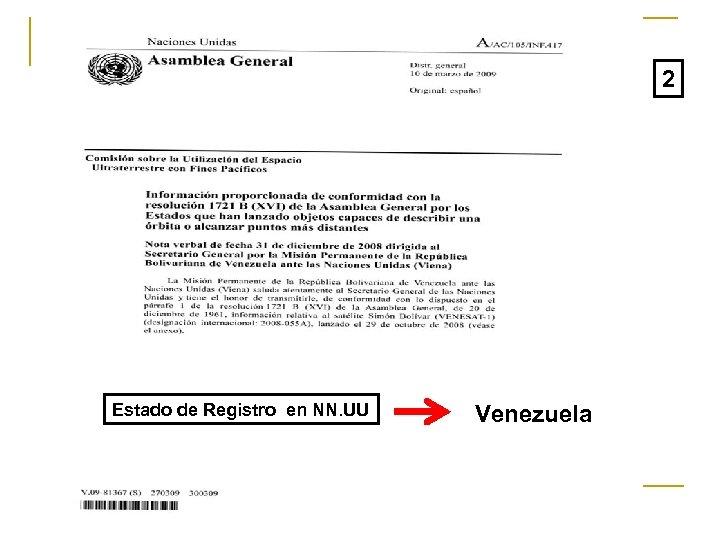 2 Estado de Registro en NN. UU Venezuela