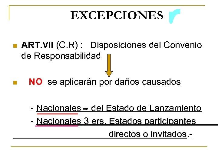 EXCEPCIONES n ART. VII (C. R) : Disposiciones del Convenio de Responsabilidad n NO