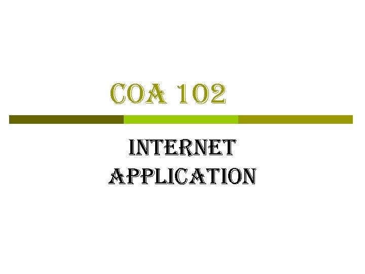 coa 102 internet application
