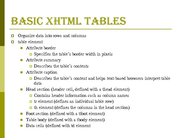 basic xhtml tables p p Organize data into rows and columns table element n