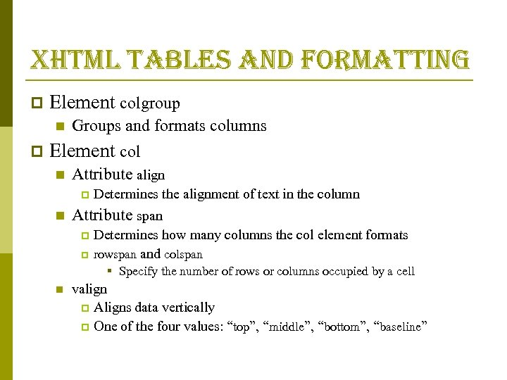 xhtml tables and formatting p Element colgroup n p Groups and formats columns Element