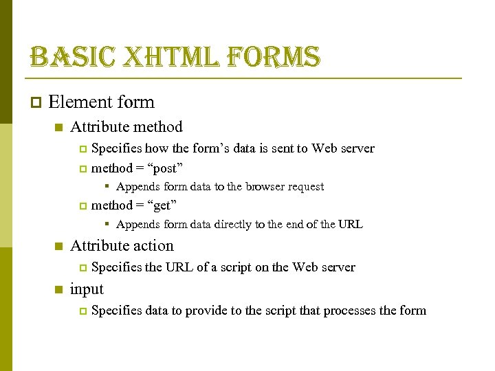 basic xhtml forms p Element form n Attribute method Specifies how the form's data