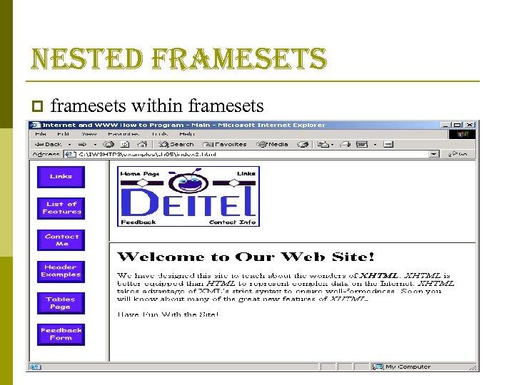 nested framesets p framesets within framesets