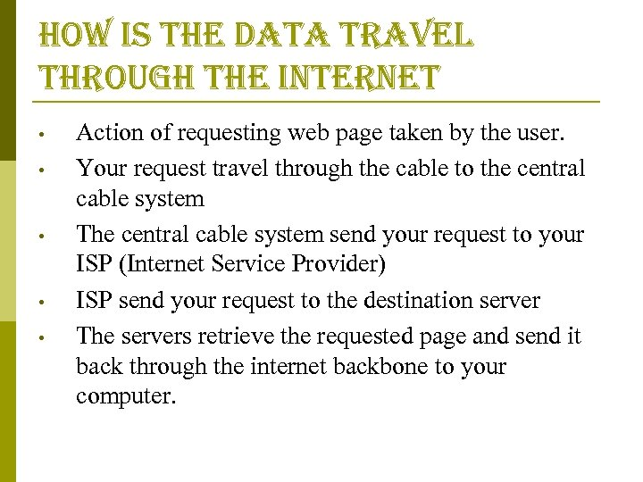how is the data travel through the internet • • • Action of requesting
