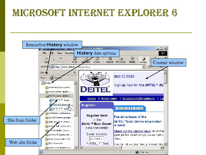 microsoft internet explorer 6 Interactive History window History date options Content window Site from