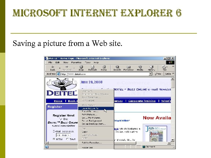 microsoft internet explorer 6 Saving a picture from a Web site.