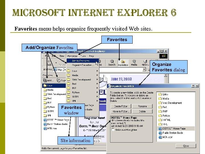 microsoft internet explorer 6 Favorites menu helps organize frequently visited Web sites. Favorites Add/Organize