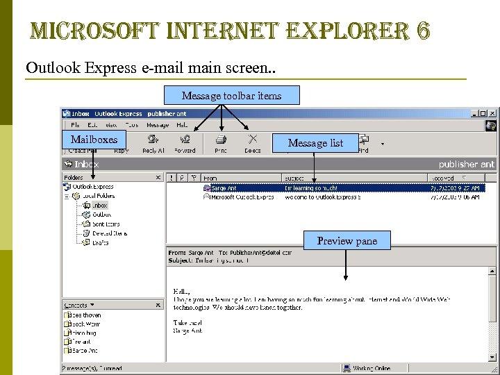 microsoft internet explorer 6 Outlook Express e-mail main screen. . Message toolbar items Mailboxes