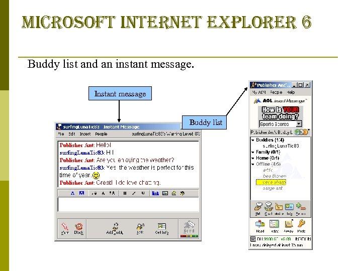microsoft internet explorer 6 Buddy list and an instant message. Instant message Buddy list