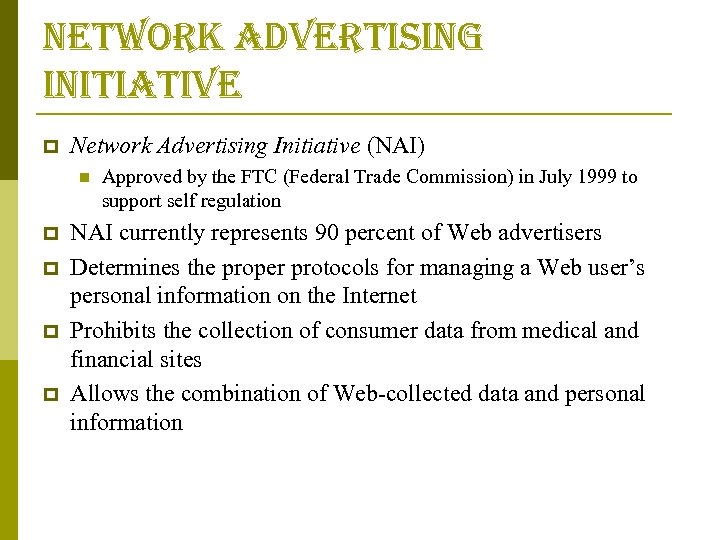 network advertising initiative p Network Advertising Initiative (NAI) n p p Approved by the
