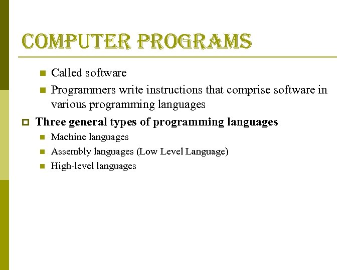 computer programs Called software n Programmers write instructions that comprise software in various programming