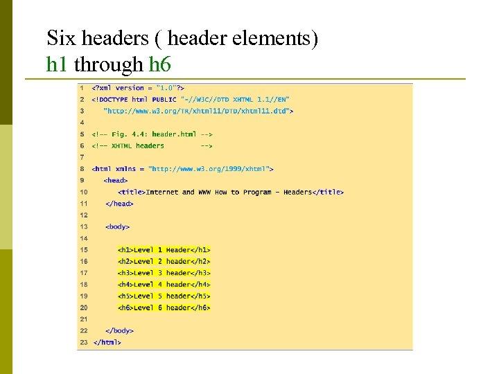 Six headers ( header elements) h 1 through h 6
