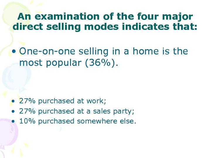 An examination of the four major direct selling modes indicates that: • One-on-one selling
