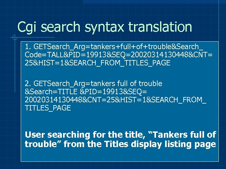 Cgi search syntax translation 1. GETSearch_Arg=tankers+full+of+trouble&Search_ Code=TALL&PID=19913&SEQ=20020314130448&CNT= 25&HIST=1&SEARCH_FROM_TITLES_PAGE 2. GETSearch_Arg=tankers full of trouble &Search=TITLE