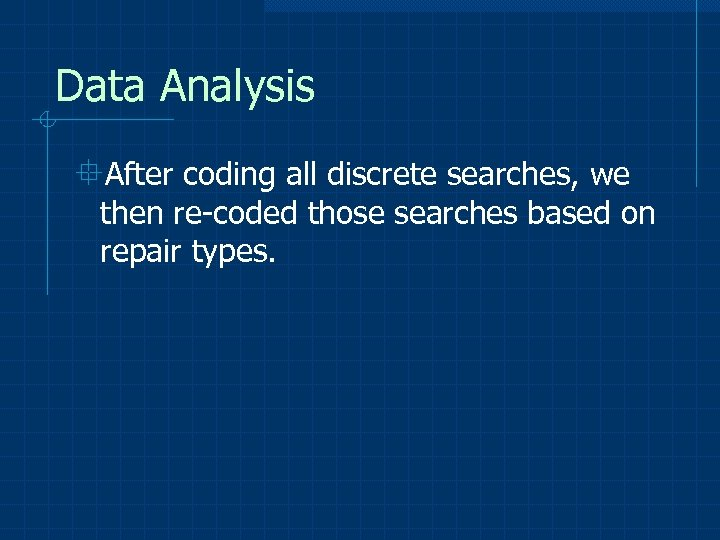 Data Analysis °After coding all discrete searches, we then re-coded those searches based on