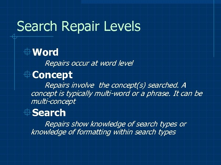 Search Repair Levels °Word Repairs occur at word level °Concept Repairs involve the concept(s)