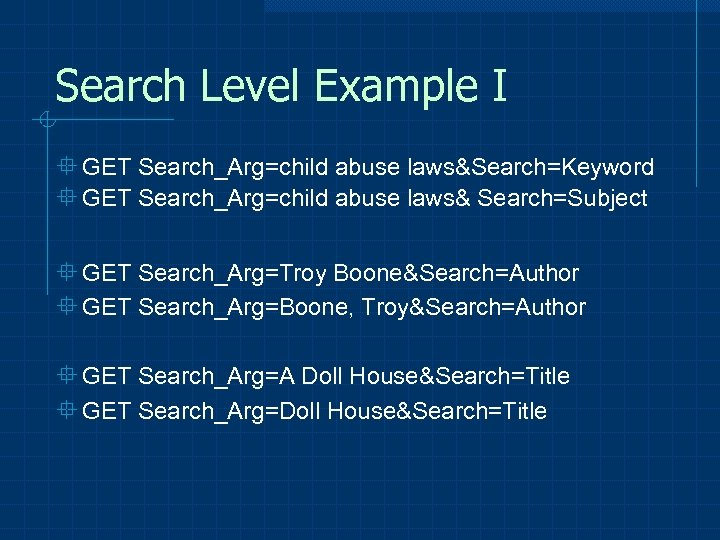 Search Level Example I ° GET Search_Arg=child abuse laws&Search=Keyword ° GET Search_Arg=child abuse laws&